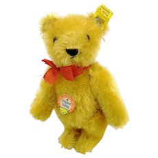 "Steiff teddy bear with all IDs, small 6"", yellow mohair, 1950s vintage"