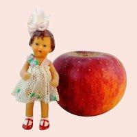 "ARI dollhouse girl doll 3 1-4"" with tulle dress 1960's vintage vinyl"