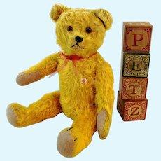 "German vintage teddy bear 12"", ID, 1950s made by Petz"
