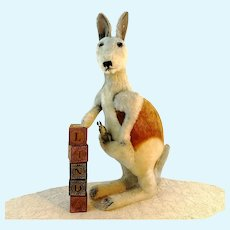 "Steiff kangaroo Linda ID large 20"" with baby vintage 1967 to 74"