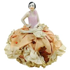 Art Deco half doll, flapper girl pincushion, 1920s Germany, with makers mark