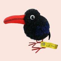 Steiff woolen raven with IDs vintage 1959 to 1964 pompom bird, wire legs
