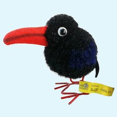 Steiff woolen raven with IDs vintage 1959 to 1964 pompom bird, wire legs