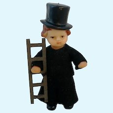 "ARI dollhouse doll 3 3 - 4"" chimney sweeper 1960's vintage vinyl"