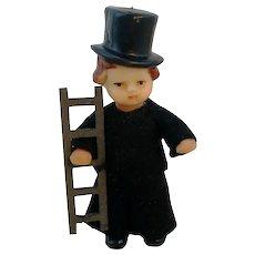 "ARI dollhouse doll 3 3 - 4"" chimney sweeper 1960's vintage vinyl"