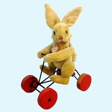 Steiff Record-Rabbit Hansi on carriage with ID, vintage 1953 to 1964