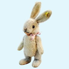 "Steiff rabbit Niki with IDs jointed midi sized 10"" vintage 1951 to 1964"