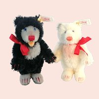 Steiff Little Blackey and Little Whitey teddy bears set with all IDs vintage 2000
