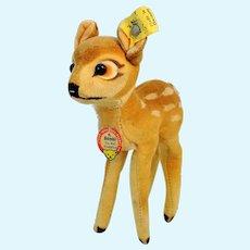 """Steiff Bambi with all IDs 1968 to 1972 vintage 5 1-2"""" velvet deer"""