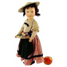 "French Raynal Doll all original clothes late 1920s felt head cloth body 20"""