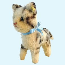 "Steiff cat Tabby with IDs 5"" vintage 1949 to 64"