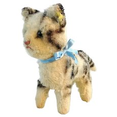 """Steiff cat Tabby with IDs 5"""" vintage 1949 to 64"""