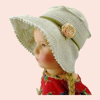 """Crochet hat light grey bonnet for large Kathe Kruse or any doll with 13"""" circumference"""