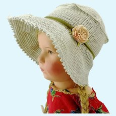 "Crochet hat light grey bonnet for large Kathe Kruse or any doll with 13"" circumference"