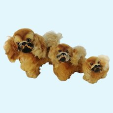 """3 Steiff Pekinese dogs all IDs different small sizes 3 to 6"""" vintage 1959 to 65"""