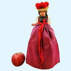 "Bottle-sitter half doll in Black Forest costume, 1950s German vintage 12"" celluloid souvenir"