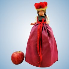 "Bottle-sitter half doll in Black Forest costume, 1950s German vintage 12"" celluloid souvenir"