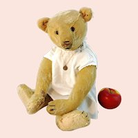 "Antique Steiff teddy bear much loved 18"", 1910's yellow mohair"