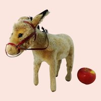 """Steiff donkey with button, vintage 1950 to 1961 only, largest 11"""" edition"""