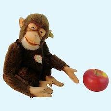 "Steiff chimp Jocko monkey all IDs 14"" vintage 1965 to 67 working squeaker"