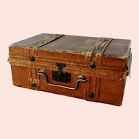 Antique trousseau chest travel suitcase for a doll or teddy bear made around 1900