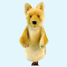 Steiff fox hand puppet with button vintage 1952 to 1963