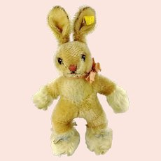 "Steiff bunny rabbit Sassy 8"" with IDs vintage 1959 to 1964"