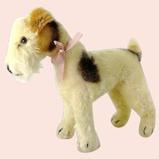 "Steiff Foxterrier Foxy 1966 to 75 vintage made 7"" mohair dog"