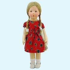 "Kathe Kruse doll VIII with fabric head, 1930s German Child, 20"""