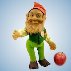 """Steiff dwarf gnome doll Lucki with ID, 1960s vintage, 12""""jointed felt body"""