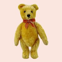 "Steiff Original Teddy Bear with IDs 1950 to 1964 vintage 14"" yellow mohair"