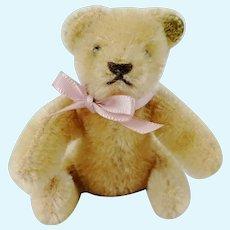 Old Steiff mini teddy bear with Steiff ID beige flexible limbs 1980's made