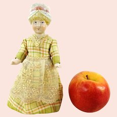 "German 1880 all Bisque dollhouse doll 7"" marked Hertwig Katzhutte"