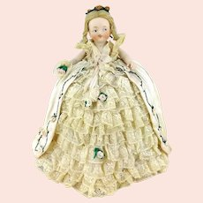 1900's Pincushion Half Doll finest bisque, antique lace, embroidered silk and batiste