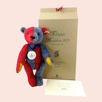 Steiff Harlequin Teddy Bear 1925 vintage replica 2000 red blue 14""