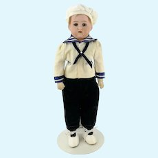 1915 Heubach Koppelsdorf sailor boy doll bisque shoulder head on cloth body 12""