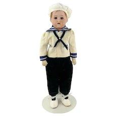"""1915 Heubach Koppelsdorf sailor boy doll bisque shoulder head on cloth body 12"""""""