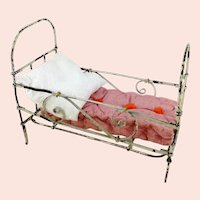 White metal dollhouse doll crib, foldable 1910's German made with mattress, 7 by 3+""