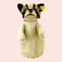Steiff Hand Puppet Bulldog with IDs, vintage 1959 to 1963, glass eyes