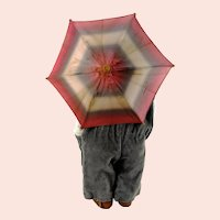 "Kathe Kruse Doll Umbrella parasol with bamboo handle 9"" diameter fully functional"