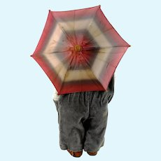 """Kathe Kruse Doll Umbrella parasol with bamboo handle 9"""" diameter fully functional"""