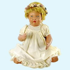 "Wooden Schoenhut Nature Baby 15"" tall, made around 1915"
