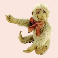 """White mohair monkey 11"""" tall made before 1945 unknown maker"""