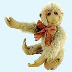 "White mohair monkey 11"" tall made before 1945 unknown maker"