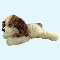 "Steiff Floppy Cockie sleeping dog with ID, rattle paw, 11"" vintage made 1953 to 67"