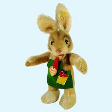 "Steiff Rabbit Ossili with all IDs mint original clothing 12"" produced 1968 to 74"