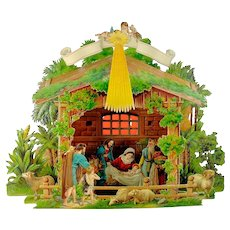 Antique Nativity Scene Creche 3D pop up chromolithographed paper, around 1880