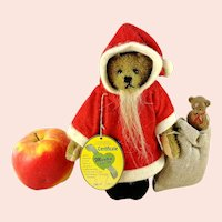 Vintage Father Christmas Santa Teddy Bear with IDs 1990s Germany made by Martin