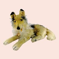 "Steiff Collie with IDs 17"" long lying made 1960 to 71"
