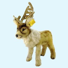 "Steiff reindeer with IDs vintage 1959 to 63 largest edition 7"" tall"